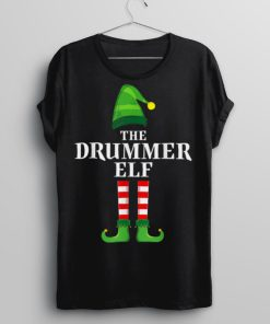 Drummer Elf Family Matching Group Christmas Party Pajama T Shirt